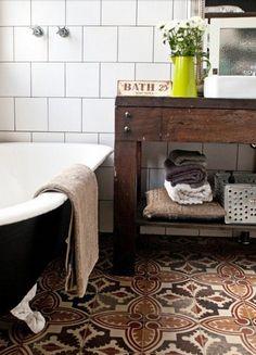 wonderful bathroom - offset square tile with a patterened floor tile || Rosa Beltran Design