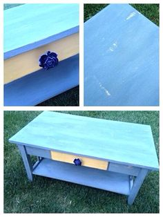 Fun sunny coffee table upscale available at Crazy Lady Vintage in Layton, UT.