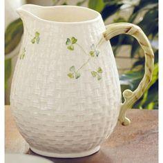 large pitcher Irish Pottery, Belleek China, Belleek Pottery, Water Into Wine, Luck Of The Irish, Water Pitchers, Fancy, Cream, Northern Ireland