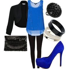 Dressy Girls' Night Out - Yep, I have replicated almost exactly, but I have gold croc heels from Good Will's boutique and royal blue sheer is really long in back (Ross), bolero blazer (JC Penny) and Black  tight trousers from Papaya