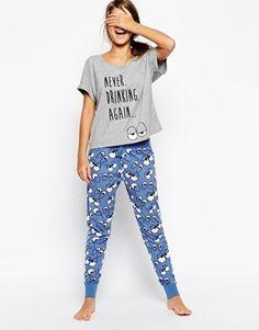 hangover wear ASOS Never Drinking Again Vest & Legging Pyjama Set
