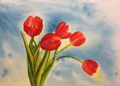 "Tulips. #brusho 15""x11""(38x28 cm)."