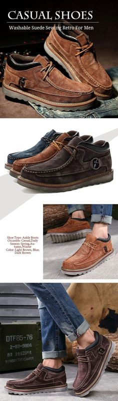 c2b26501a US 41.89 Washable Suede Sewing Retro Classic Lace Up Casual Shoes For Men