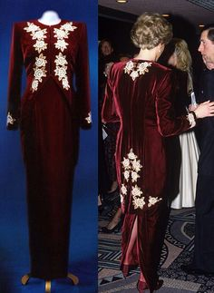 Designed by Catherine Walker, this burgundy velvet gown was inspired by the colouring of an Imperial Russian court dress, and had originally been designed as a burgundy tail-coat over an ivory silk crepe bustier dress. However Diana thought that to wear all burgundy would appear more fluid, and easier to wear. The gown was heavily embroidered with gold metallic threads and pearls. It sold in the Christie's auction for $26,450 in June 1997.