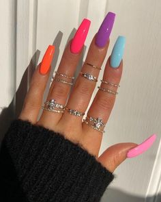 In seek out some nail designs and ideas for your nails? Here's our listing of must-try coffin acrylic nails for fashionable women. Bright Summer Acrylic Nails, Simple Acrylic Nails, Pink Acrylic Nails, Neon Nails, Swag Nails, Grunge Nails, Rainbow Nails, 3d Nails, Summer Nails