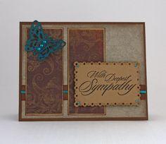 Sympathy Handmade Card / condolences card / deepest sympathy / butterfly / teal, brown