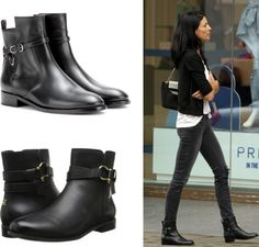 Classic black leather ankle boots http://workchic.com/blog/2014/12/02/black-leather-flat-ankle-booties/ #balenciaga #lookforless