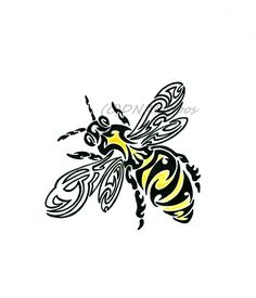 Really Cool Tattoo Designs and Sketches - Colorful Tribal Bee Bumble Bee Tattoo, Honey Bee Tattoo, Native Art, Native American Art, I Love Bees, Bee Cards, Bee Design, Bee Theme, Bees Knees