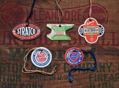 Badge and lettering inspiration in the form of old hardware hang tags.