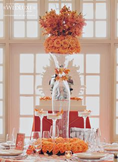 hollywood chic in orange roses & orchids ~ photography: BLF Studios // design and direction: Divine Weddings & Events // floral design and décor rentals: Little Flower Shop