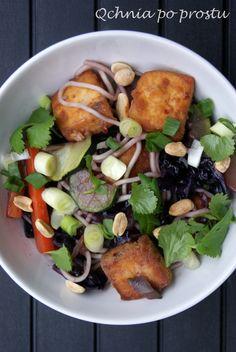 Noodle z tofu, czerwoną kapustą i cukinią Mie Noodles, Tofu, Chicken, Meat, Cubs