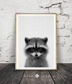 Racoon Print Woodlands kwekerij Wall Art Decor door LILAxLOLA