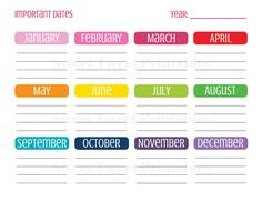 Important Dates Planner, Planner Printable, Planner Page, Dates To Remember, Special Dates Calendar, Birthday Printables, Instant Download by SweetTweetPrintables on Etsy