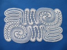 This is my lace made to my own design for the 2013 Lace… Drawn Thread, Thread Work, Bobbin Lace Patterns, Lace Braid, Lacemaking, Needle Lace, Cutwork, Doilies, Aztec
