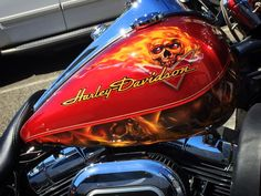 Airbrushed Skulls on Fire - Harley Davidson - Painted by Mike Lavallee of Killer Paint - www.killerpaint.com