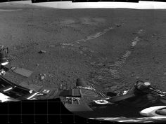 This 360-degree panorama shows evidence of a successful first test drive for NASA's Curiosity rover  On Aug. 22, 2012, the rover made its first move, going forward about 15 feet (4.5 meters), rotating 120 degrees and then reversing about 8 feet (2.5 meters). Curiosity is about 20 feet (6 meters) from its landing site, now named Bradbury Landing. Image credit: NASA/JPL-Caltech