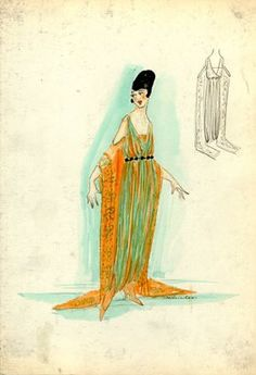 """<em>""""Evening Dress, 1917. Orange and green ankle length dress; sleeveless, draped bodice, sheer orange sleeves attached extending to floor with green design on sleeves. (Bendel Collection, HB 021-18)""""</em>, 1917. Fashion sketch, 12.25 x 8.5 in (31.1 x 21.6 cm). Brooklyn Museum, Fashion sketches. (Photo: Brooklyn Museum, SC01.1_Bendel_Collection_HB_021-18_1917_SL5.jpg"""