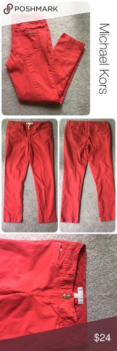 """Red Michael Kors jeans size 4 ♦️ no holes, piling or stains. Some slight fading of color as pictured  ♦️ Runs on the larger side- more of a S/M  ♦️Made of 97cotton/ 3 spandex ♦️Measurements: 25"""" inseam Michael Kors Jeans"""