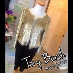 Tory Burch gold sequin jacket Tory Burch gold sequin 100% nylon jacket. Measures 18 inches across the bust and 10 inches from underarm to bottom hem. The sleeves from shoulder to bottom measures 20 inches. This item is in EUC, just like new. The front is open with no closure. All items come from a smoke free environment. Bundle in my closet and save 10% off your total purchase. Thank you for checking out my closet! No PayPal's and no trades.#001c Tory Burch Jackets & Coats