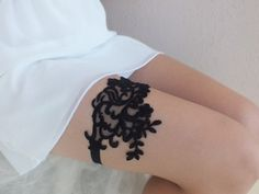 Black lace garter, Wedding Garter, Handmade garters, XMAS gifts