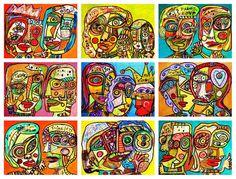 9  Un-Cut ACEO's  Cubist Family & Friends  by SandraSilberzweigArt