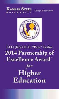 """2014 Military Child Education Coalition LTG (Ret) H.G. """"Pete"""" Taylor Partnership of Excellence Award for Higher Education"""