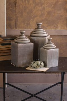 S/3 Grey Textured Ceramic Canisters With Pyramid Tops