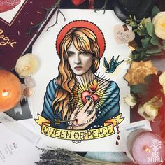 Florence and The Machine Florence Welch Art Portrait Poster Oldschool Tattoo Flash Florence Welch Tattoo, Shave Her Head, Florence The Machines, Nick Cave, Magic Book, Dye My Hair, International Paper Sizes, Stevie Nicks, All Art
