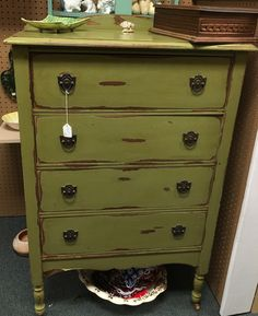 Vintage hand-painted shabby chic chest of drawers at Homestead Handcrafts, San Antonio, Texas.