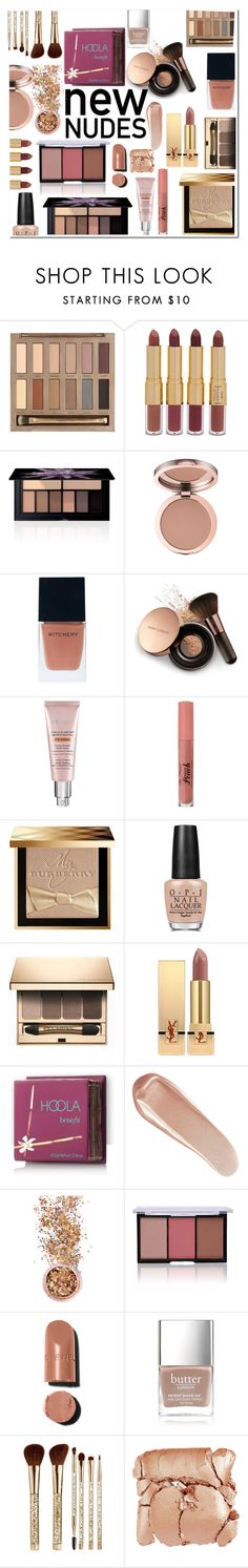 """""""Nudes"""" by mk19972000 ❤ liked on Polyvore featuring beauty, Urban Decay, tarte, Smashbox, Witchery, Nude by Nature, CC, Burberry, OPI and Clarins"""
