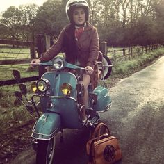TV Chef Stacie Stewart on her Vespa with her AGC Bowling Bag