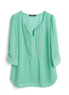 [US$29.99] - Green V-neck Half Sleeve Studded Pintucks Chiffon Blouse : ThatsPoint.com