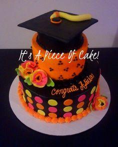 pink and orange, this graduation cap Graduation Desserts, Graduation Cake, Sweet Cakes, Cute Cakes, Polka Dot Cakes, Fantasy Cake, Retirement Cakes, Mom Cake, Different Cakes