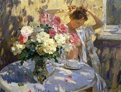 «Morning in the garden»; 80х100;  oil on canvas; 2004 Yuri Krolov.