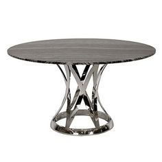 The Janet Marble Round Dining Table is beautifully designed for your dining room. The smooth top is made of marble in charcoal gray tones with a gorgeous pattern over a stainless steel base in a crosshatch shape for your modern style. Beach Furniture, Furniture Dining Table, Modern Dining Table, Round Dining Table, Dining Room Table, Furniture Design, Wood Furniture, Casual Dining Rooms, Indoor Outdoor Furniture