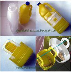 Plastic totes made of detergent bottles