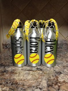 Personalized Aluminum Water Bottle-Baseball or by andreatisdale
