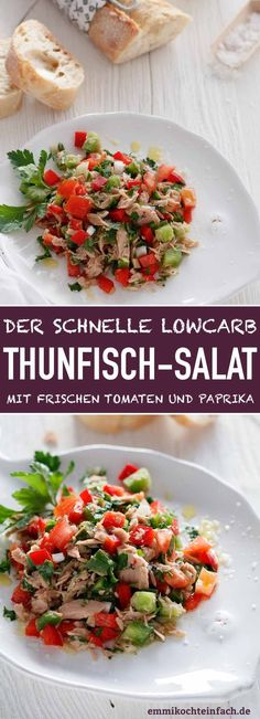 Einfacher Thunfischsalat mit Tomaten und Paprika - emmikochteinfach Tuna salad with fresh tomatoes and peppers The simple and quick salad recipe. The uncomplicated low carb 15 minute after-work Quick Salad Recipes, Diet Recipes, Easy Recipes, Healthy Meals For Kids, Good Healthy Recipes, Healthy Foods, Menu Dieta, Sprouts Salad, German Recipes