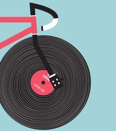 Via An illustration of a vinyl record as a bicycle wheel. Bike Poster, Poster S, Atelier Theme, Bicycle Illustration, Bicycle Art, Bicycle Store, Bicycle Wheel, Cycling Art, Cycling Quotes