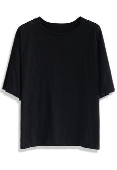 Oversized Black Cotton T-shirt - New Arrivals - Retro, Indie and Unique Fashion