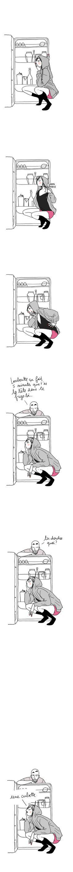 """More illustrations LINE BOTWIN """"lol"""" -  Je suis pas bien configuré le matin.. #matin #frigo #humour"""