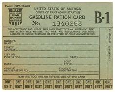 Gasoline ration card / Ration Coupons on the Home Front, / Duke Digital Repository 8th Grade History, History Class, Vintage Images, Vintage Posters, Golden Ration, Vintage Ephemera, Vintage Clip, Embossed Cards, Poster Vintage