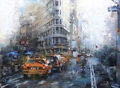 Fifth and Broadway by Mark Lague Oil ~ 18 x 24