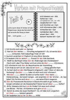 Τα ρήματα με τις Προθέσεις μέρος 6 German Language Learning, Foreign Language, Deutsch Language, German Grammar, Learn German, Prepositions, Worksheets, Classroom, Education