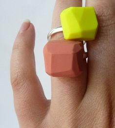 Geo Ring - polymer clay & adjustable ring.