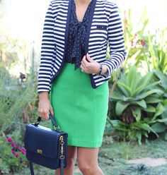 Navy stripes and polkadots with green outfit for work - // StylishPetite.com