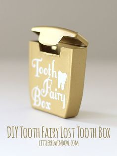 "DIY Tooth Fairy Lost Tooth Box made from an old dental floss container + a FREE printable Tooth Fairy Letter! | <a href=""http://littleredwindow.com"" rel=""nofollow"" target=""_blank"">littleredwindow.com</a>"