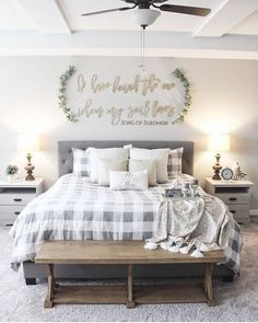 """Farmhouse Homes 🏡 on Instagram: """"This farmhouse bedroom is so cute! Love the Buffalo check pattern on the bedding! 😍 What decor style is your bedroom or home? 🏡 TAG a…"""" Farmhouse Master Bedroom, Home Bedroom, Modern Bedroom, Contemporary Bedroom, Bedroom Ideas Master On A Budget, Bedroom Small, Bedroom Wardrobe, Master Bedroom Furniture Ideas, Bedroom Ceiling"""