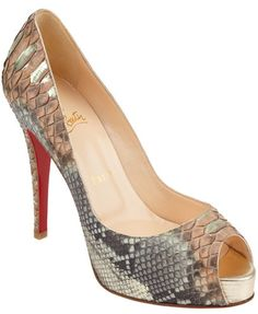 Christain Louboutin-Python Very Prive Dream Shoes, Crazy Shoes, Shoe Boots, Shoe Bag, Peep Toe Pumps, Shoe Collection, Christian Louboutin, Footwear, Python