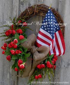 Patriotic Wreath Americana Summer Wreath by NewEnglandWreath,